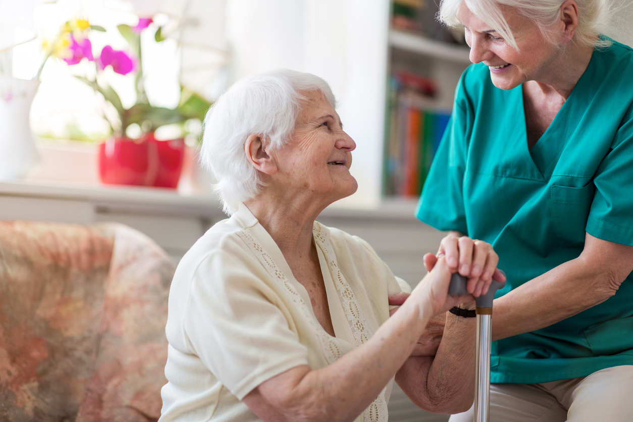 patient with in-home hospice caregiver